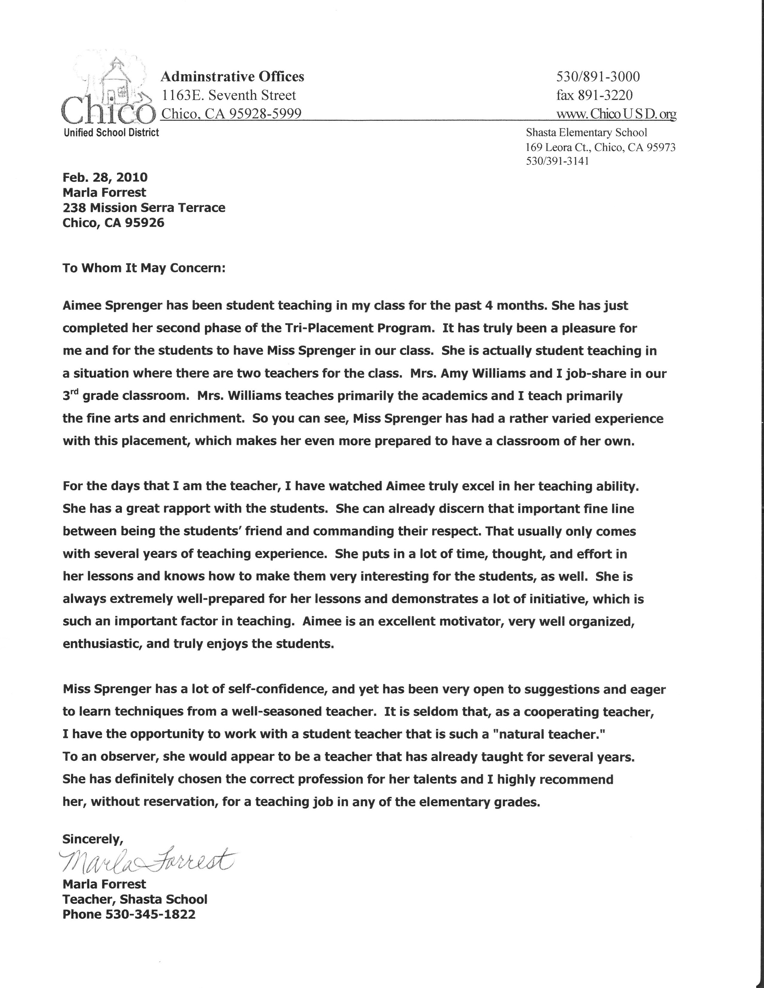 Recommendation Letter For Student Teacher From Cooperating Teacher